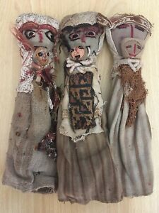 3 Vintage Antique Peru Grave Burial Doll Folk Art Pre Colombian Chancay Textile