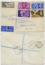 GB 1948 OLYMPICS FIRST DAY COVER REGISTERED SOUTH KENSINGTON to QUEBEC CANADA