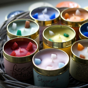 Brand New Lily Flame Tin Candle-Many Fragrances-Free P&P