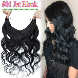 THICK Body Wave 100% Remy Human Hair Extensions Hidden Crown Wire In Halos Weft