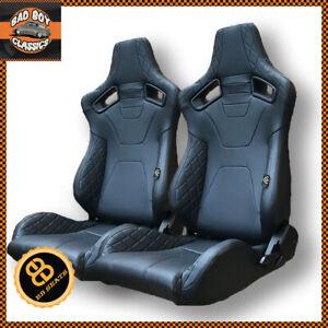 Pair BB6 RS Black Diamond Stitch Reclining Bucket Sports Seats Ideal DEFENDER