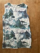 Ladies French Connection Dress Size 10 Mountains Wolf Forest White Blue Green