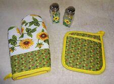 4Lot Overstock Kitchen Set: Sunflower Salt & Pepper Shakers,Oven Mitt,Pot-Holder