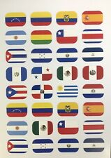 Stickers - Hispanic Heritage Flags - 40 stickers per sheet