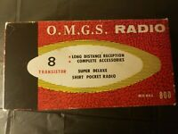 Vintage OMGS Model 800 Long Distance Transistor Radio Leather Case Earphones Box