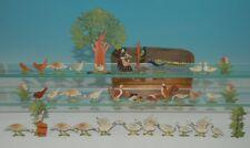 antike Zinnfiguren Geflügelhof * 38 Teile in Spanschachtel * um 1860-1870