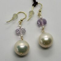 SOLID 18K YELLOW GOLD EARRINGS WITH BIG WHITE PEARLS AND AMETHYST MADE IN ITALY