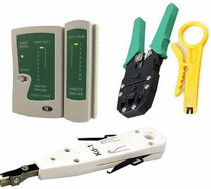 RJ45 Ethernet Network Cat5e Cat6 LAN Cable Tester Punch Down Crimping Tool Kit