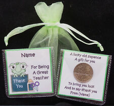 PERSONALISED THANK YOU GIFT TEACHER TEACHING ASSISTANT LUCKY SIXPENCE KEEPSAKE
