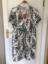 Pure Collection Silk Linen Cocoon Dress - Navy Bamboo Print - Size 14 RRP £130