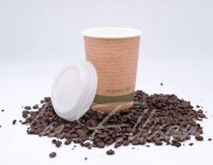 Compostable Bio Vegware Hot Coffee Cups Double Wall PLA 455ml 16oz #BargainTrend