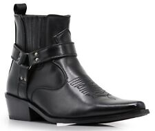 Men New Black Brown Ankle Cowboy Western Boots Shoes Leather Line Side zipper W1