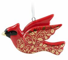 Christmas Cardinal 2016 Hallmark Ornament Porcelain Red Gold Bird