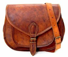 Womens Vintage Genuine Brown Leather Messenger Shoulder Cross Body Bag Ladies