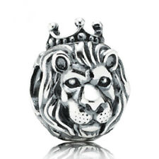 1P Silver Crown Lion Charm Bead Fit Charm Bracelet/ Chain