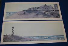 """Larry P. Johnson lot of 2 NC Beach Scene Signed Number Prints 29"""" x 10.75"""""""