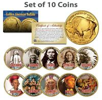 HISTORCIAL NATIVE AMERICANS Colorized American Gold Buffalo 10-Coin Set INDIANS