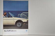 VW Volkswagen Golf 1 Cabriolet Prospekt 08/1985