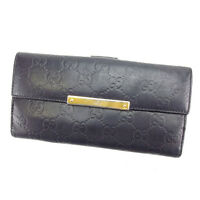Gucci Wallet Purse Long Wallet Guccissima Black Gold Woman Authentic Used C2099