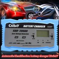 12/24V 10A 200Ah Cargador de batería inteligente para moto coche rápido completo