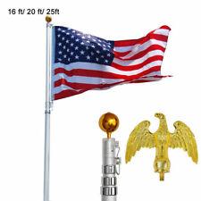 20' 25' Ft Flag Pole Aluminum Flagpole Kit 3x5' American Us Flag Fly Outdoor