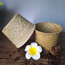 Bamboo Storage Baskets Straw Patchwork Handmade Laundry Wicker Rattan Seagrass