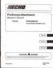 1999 ECHO PRO SWEEP ATTACHMENT OPERATORS MANUAL MODEL 99944200550  (755)