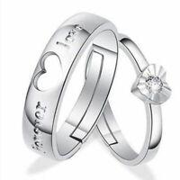 1 paar Liebhaber Romantische Herz Kristall Paar Ringe Sie und Seine mise Ri I1B6
