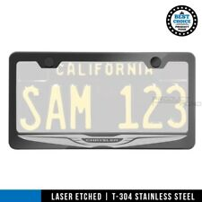 Laser Engrave License Plate Frame For CHRYSLER Gun Metal Stainless Steel w/cap