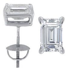 Alluring Vintage 1.50 CTW Earrings Set Emerald cut Diamond 18K White Gold GIA