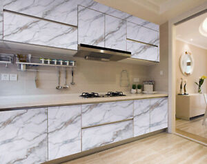 Marble Self Adhesive Wall Stickers Furniture Wrap Kitchen Cabinet Oil Proof 16'