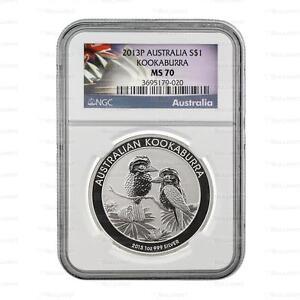 New 2013 Australian Silver Kookaburra 1oz NGC MS70 Graded Silver Coin