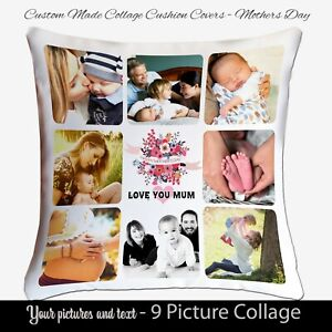 Personalised Photo FathersDay Cushion Pillow Case Cover Custom Gift collage 9Pic