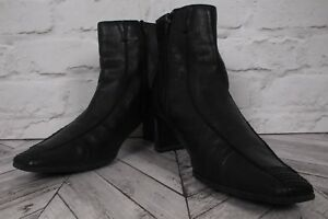 SALLY O'HARA High Heel Ankle Boots Shoes RRP £89 Black Leather Block EU 41 UK 7