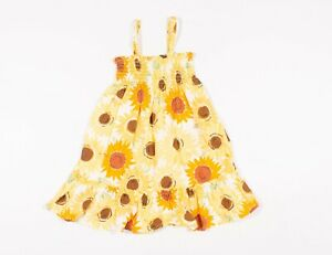Hanna Andersson Yellow Sunflower Floral Dress Size 90 CM / 3T