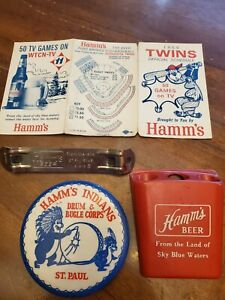Vintage Hamm's 1966 Minnesota Twins Baseball Schedule, Rare Button, and misc