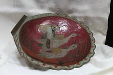 Vintage Large Painted Enamel Brass Decorative Bowl Center piece numbered