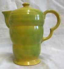 Art Deco Wade Heath Yellow & Green Mottled Ribbed Green Coffee Pot