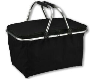 e-Best Einkaufskorb SCHWARZ mit Tragegriffen, zusammenfaltbar, Picknickkorb