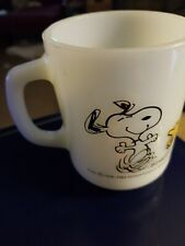 Vtg Fire King Snoopy At Times Life is Pure Joy Coffee Mug Cup Woodstock Peanuts