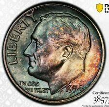 Tab Toned PCGS MS65 1954 P Roosevelt Dime 10c Trueview PQ Blue Two Sided Color