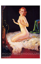 Pin Up Girl Poster 11x17 nude flapper bear skin rug fireplace art deco