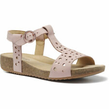 Hotter Women's Festival Cork Leather/Textile Zip Fastening Adult Sandals Casual
