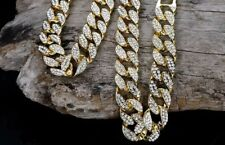 "18K Iced Out Cuban Gold Chain 20""Diamond Dog Chain Medium Dog breed"
