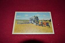 Caterpillar Tractor Harvesting Wheat in Kansas Dealer's Postcard GDSD2