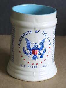 USA President Washington thru NIXON Gray Crockery Mug Red Blue Graphics FREE SH
