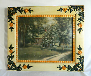 Original Folk Art Painting-Pastel Chalk/Hand Crafted Frame/1800-early1900's