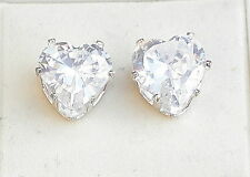 Clear Crystal & Silver Tone Heart Stud Earring 10mm x 10mm Post & Butterfly