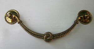 """MCM French Provincial antique hardware vintage rope drawer pull brass 5"""" center"""