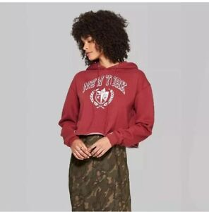 Wild Fable Cropped Hoodie New York Graphic - Berry Maroon - L